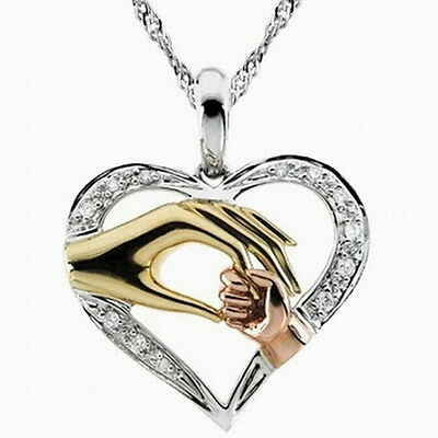 Mother's VHy Mom Hold Kids Children Hand Love Heart Pendant Chain Necklace In VH