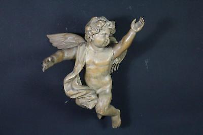 Holz Figur kniender Engel Putto Barock 18.Jhd (E019)