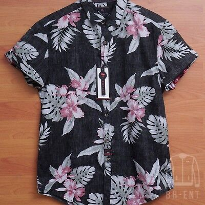 7c9712447bf Mens Denim Flower By Ricky Singh Fl Hawaiian Slim On Up Shirt Small. Denim  Flower By Ricky Singh Mens On Front Shirt Size Large
