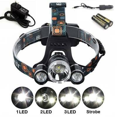 CREE XM-L T6 LED Head Torch Lamp Headlamp & 2*18650 rechargeable battery 6000lm