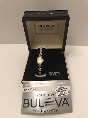 Bulova Quartz Womens Watch Gold Colored Vintage New Old Stock New Battery
