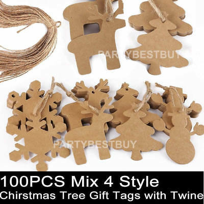 100PCS Mix 4 Style Brown Kraft Paper Christmas Gift Parcel Tags Label Luggage