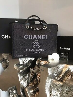 745611738b22 Nwt Chanel Black Deauville Tote Large Tweed Boucle Gst Grand Shopping 2018  2019
