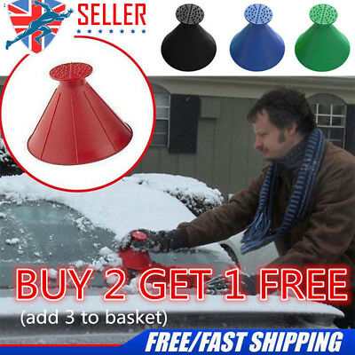 Car Windshield Magic Ice Scraper Tool Cone Shaped Outdoor Funnel Remover Snow UK