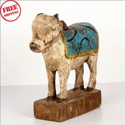 1850S Indian Old Antique Hand Carved Polychrome Wooden Holy Cow Nandi Figurine B