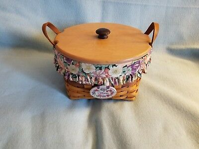 Longaberger 1997 May Series Petunia Basket with lid, liner, protector andtie on