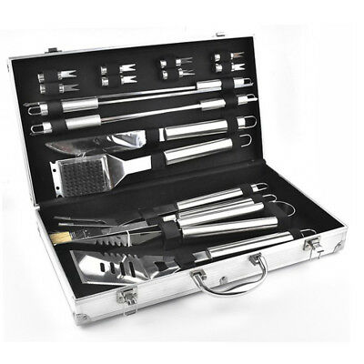 New 18pcs Stainless Light BBQ Barbecue Tools Set Cooking Grill Kit Portable Box