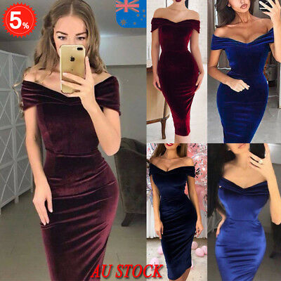 AU Women Off Shoulder Bodycon Dress Formal Party Evening Wedding Ball Prom Dress