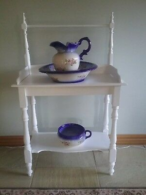 ANTIQUE JUG AND BASIN with WASH STAND