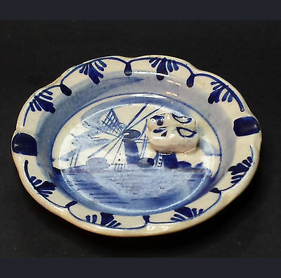 Vintage Dutch Delft Ashtray Hand Painted Blue and White HENRY WEDEMEYER INC
