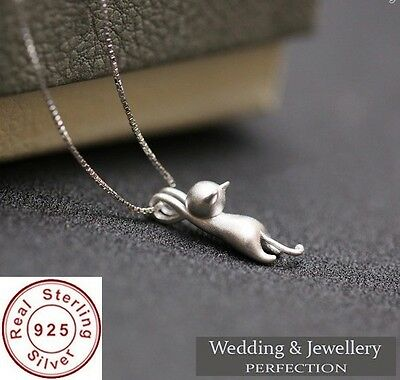 925 Sterling Silver Necklace Cat Pendant Charm Pet Animal Jewelry Chain GIFT UK