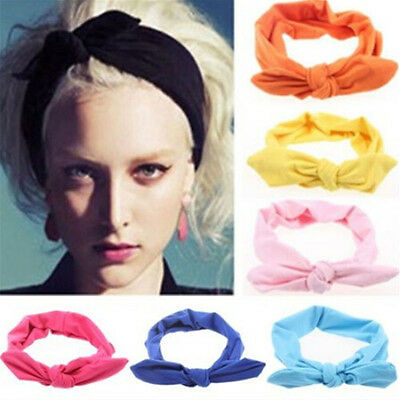 Ladies Women Fashion Elastic Stretch Plain Rabbit Bow Style Hair Band Headband