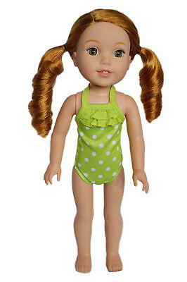 My Brittany's Lime Dot Swimsuit for Wellie Wisher Dolls-36cm Doll Clothes