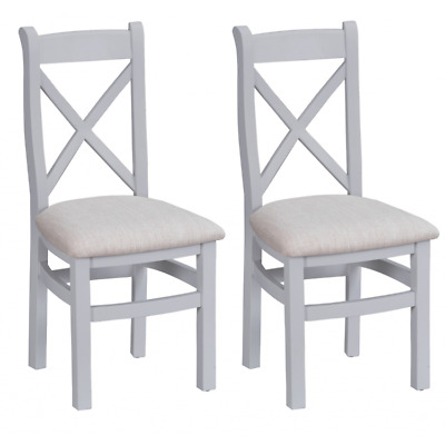 Tenby Grey Painted Furniture Cross Back Dining Chairs with Fabric Seat PAIR