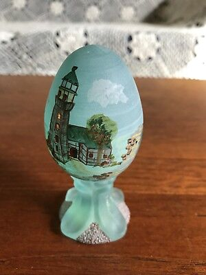 Fenton Limited Edition Hand Painted Art Glass Egg Signed L Lucas 496/3000