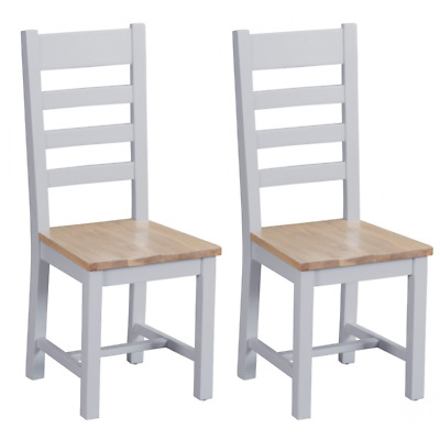 Tenby Grey Painted Furniture Ladder Back Dining Chairs with Wooden Seat PAIR