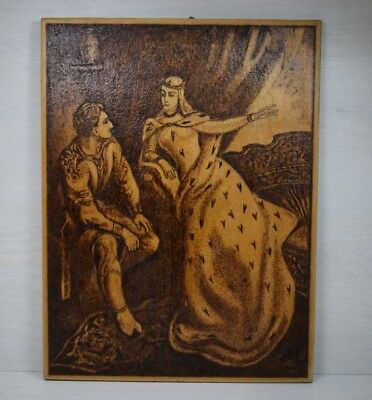 Vintage Handmade Unique Pyrography Princess & Prince Romeo and Juliet Picture