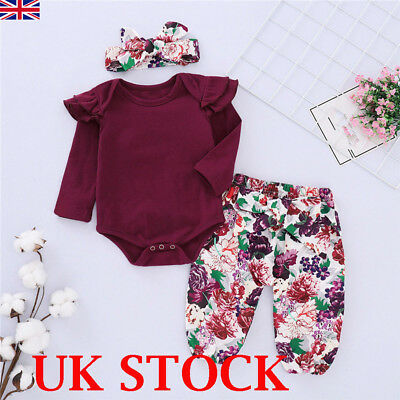 UK Cute Newborn Baby Girls Tops Romper Floral Pants Headband Outfits Set Clothes