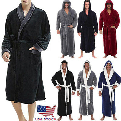 Men's Winter Plush Lengthened Shawl Bathrobe Home Clothes Long Sleeved Robe Coat