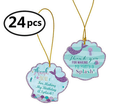 Famoby Mermaid Thank You Tags with String Thank You For Making My Party Tags
