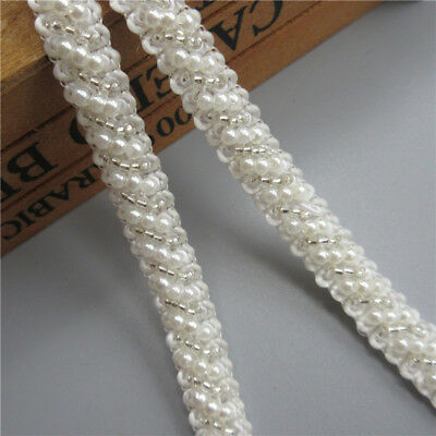 1 Meter White Beads Pearl Lace Trim Ribbon Embroidered Appliques Sewing Craft