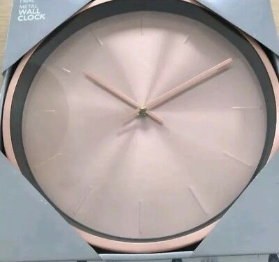 NEXT Round Rose Gold Copper Effect Wall Clock Kitchen Bedroom,Bathroom,Hall. NEW