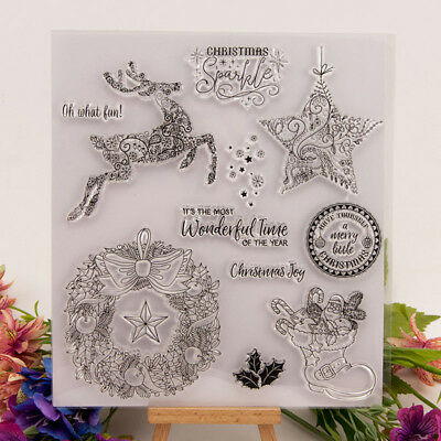 Silicone Clear Stamp Transparent Rubber Stamps DIY Scrapbook Christmas deer UP