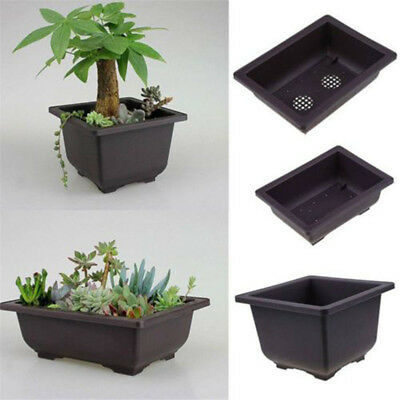1*Flower Pot Balcony Square Rectangle Basin Bonsai Planter Bowl Nursery Tray New