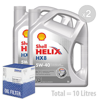 Engine Oil and Filter Service Kit 10 LITRES Shell Helix HX8 ECT C35w-40 10L