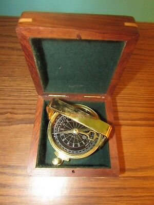 Vintage Brass Natural Sine Stanley London Compass in Wood Box