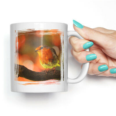 Coffee Mug Tea Cup Ceramic Robin Bird Blurred Background Animal