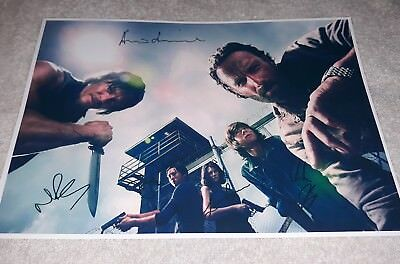 The Walking Dead Poster. Cast Signed. Rick. Daryl. Zombies. Horror.