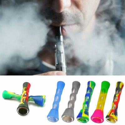 Protable Silicone Tobacco Pipes with Glass Pipes Glass Herb Smoking Random Col P