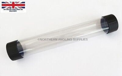 """NAS  2"""" Clear Plastic Float Tubes Length 12 inch (30cm) with Black End Caps"""