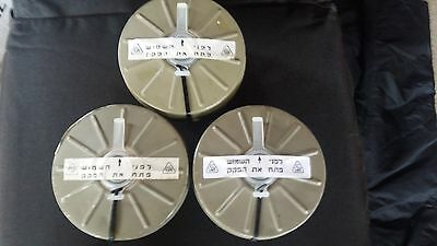 (3)Three pack of Israeli Military Gas Mask Filters,Type 80 Sealed. *See Details*