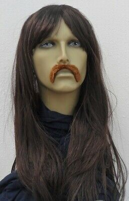 Long Brown Straight Hippy Style Men's Fancy Dress Wig & Self Adh Droop Moustache