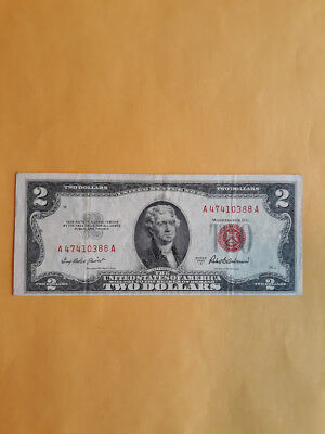 Series of 1953 A Two Dollar $2 Bill  *Red Seal* United States Currency