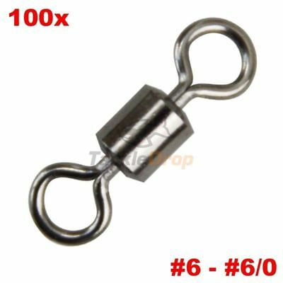 100x Crane Barrel Rolling Swivel Strong Fishing Line Connector Solid Ring USA!