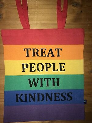 """Treat People With Kindness"" Regenbogen Tasche/ rainbow tote bag"
