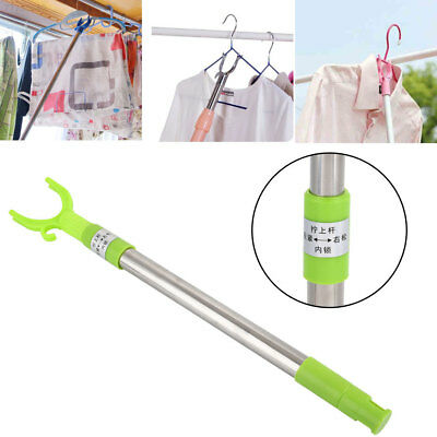 7673 Clothes Fork Stainless Steel Green Tool Coat Hanger Durable
