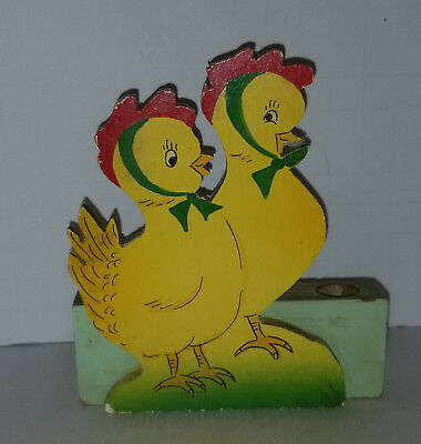 Vintage 1950's Wooden Cutout Easter Chicks