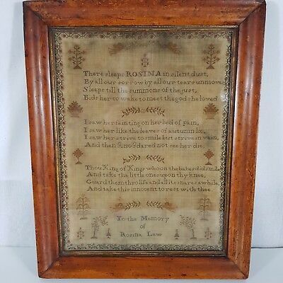 Antique Mourning Sampler Poem In Memory Of Rosina Law Decorated Flowers