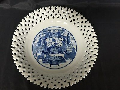 Vintage / Antique Asian Blue and White Porcelain  Bowl with Mark Open Lace Edge