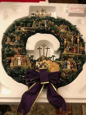 "Thomas Kinkade ""testament to faith"" lighted wreath"