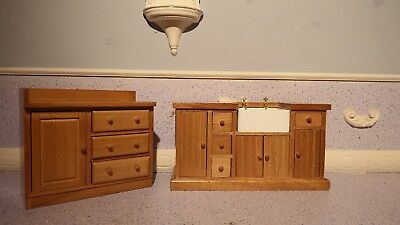 doll house furniture oak belfast kitchen sink unit and cupboard 1.12th K