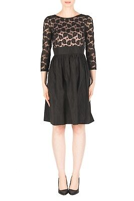 Joseph Ribkoff Black Dusty Pink Lace Overlay Fit Flare Cocktail Dress NEW 183420