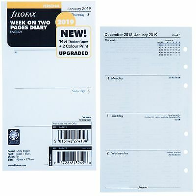 2019 Filofax Personal Size Week on Two Pages Calendar - (19-68421) - English