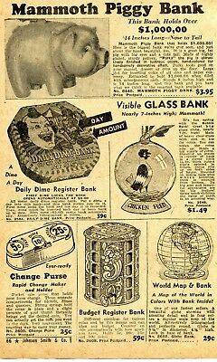 1950 small Print Ad of Mammoth Piggy Bank, Dime Circus Clown & Chicken Feed Bank