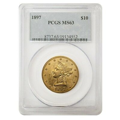 1897 $10 Liberty Head Gold Eagle Coin PCGS MS 63