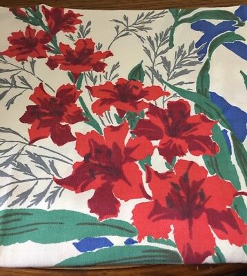 Vintage Startex Tablecloth Flowers Red Roses